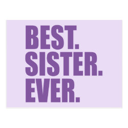 Postcard with Best. Sister. Ever. (purple) design