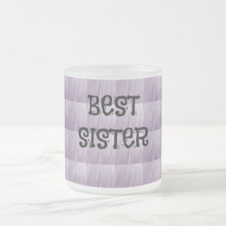 Best Sister Pale Soft Lilac Frosted Glass Coffee Mug