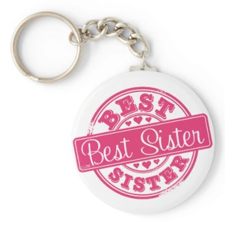 Best sister -rubber stamp effect- zazzle_keychain
