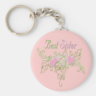Best Sister Swirling Hearts Keychain