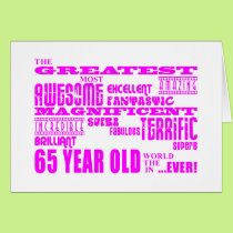 Best Sixty Five Year Olds Girls : Pink Greatest 65 Card