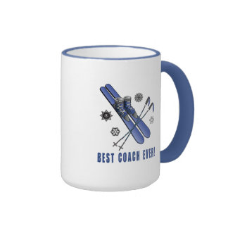 Best Skiing Coach Ever: Skis, Poles, and Boots Ringer Coffee Mug