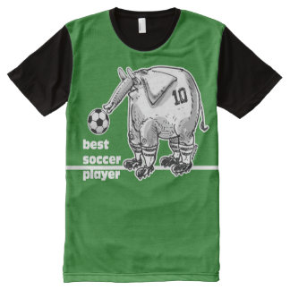 best soccer player elephant on green pitch All-Over-Print T-Shirt
