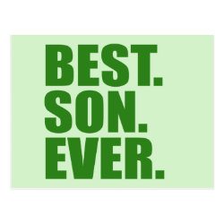 Postcard with Best. Son. Ever. (green) design