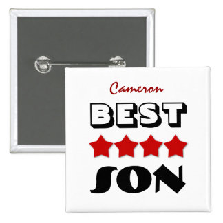 Best SON with Stars RED V08 Pinback Button