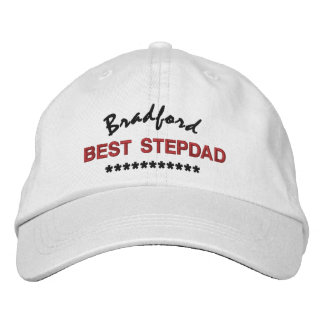 BEST STEPDAD Custom Name RED BLACK Embroidery V02 Embroidered Hat