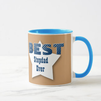 Best STEPDAD Ever BLUE and TAN Star V05 Mug