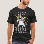 Best stepdad Ever Dabbing Unicorn T-Shirt