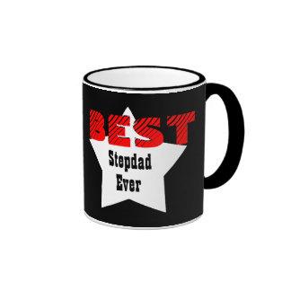 Best STEPDAD Ever RED BLACK WHITE Star V04 Ringer Mug