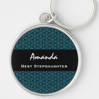 Best Stepdaughter Teal Star Pattern Collection Keychain