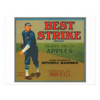 Best Strike Vintage Apple Crate Label - vintage ba Postcards