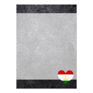 """Best Tajik Heart flag 5"""" X 7"""" Invitation Card"""