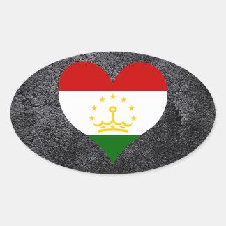Best Tajik Heart flag Oval Sticker