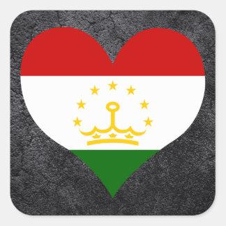 Best Tajik Heart flag Square Sticker