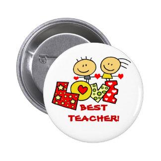 BEST TEACHER PINBACK BUTTONS