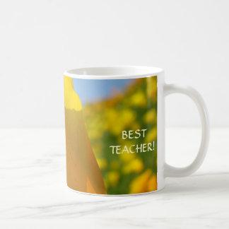 BEST TEACHER Coffee Cup Mug gifts Poppy Flowers