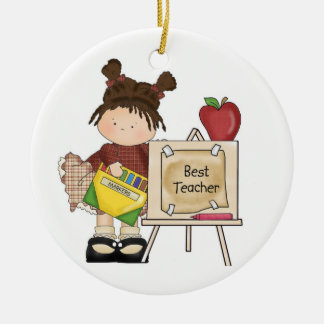 Best Teacher Easel Double-Sided Ceramic Round Christmas Ornament