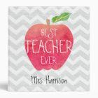 Best Teacher Ever Apple Gray Chevron Personalized 3 Ring Binder