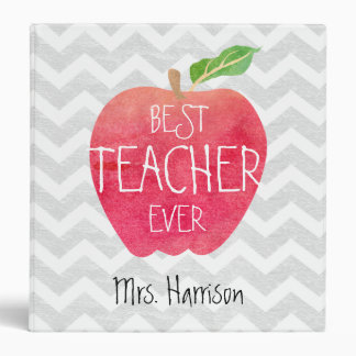 Best Teacher Ever Apple Gray Chevron Personalized 3 Ring Binder