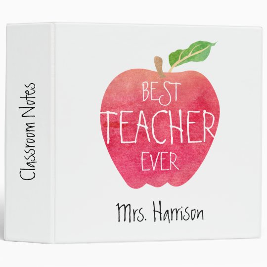 Best Teacher Ever Apple Personalized Lesson Plans 3 Ring