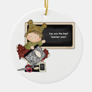 Best Teacher Ever Board Ceramic Ornament