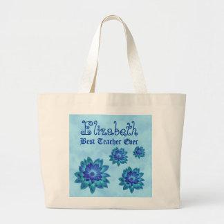 Best TEACHER Ever Custom Name Blue Flowers Large Tote Bag