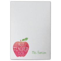Best Teacher Ever Customized Red Apple Watercolor Post-it® Notes