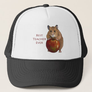Best Teacher Ever: Hamster With Apple: Art Trucker Hat