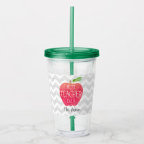 Best Teacher Ever Personalized Apple Chevron Acrylic Tumbler