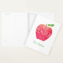 Best Teacher Ever Personalized Watercolor Apple Planner