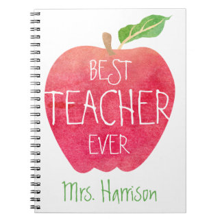 Best Teacher Ever Red Apple Personalized Notebook