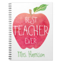 Best Teacher Ever Red Apple Personalized Spiral Notebook