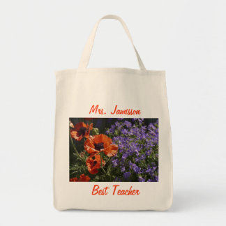 Best Teacher Floral Poppies Appreciation Thank You Tote Bag