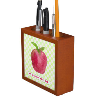 Best Teacher Gift Red Apple Watercolor Desk Organizer