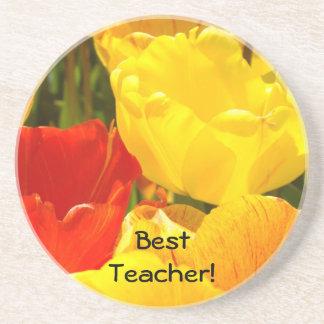 Best Teacher gifts Yellow Red Tulip Flowers Garden Drink Coaster