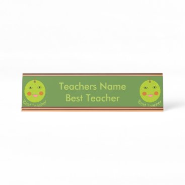 Best Teacher Happy Apple Personalized Desk Sign