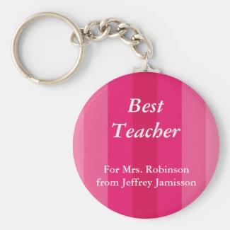 Best Teacher Keychain (Key Chain), Pink Striped