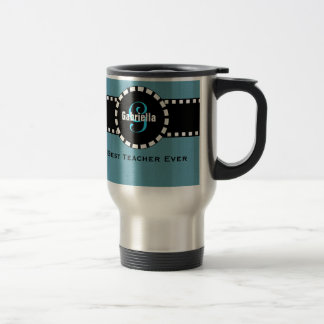Best TEACHER Monogram and Custom Name V04 BLUE 15 Oz Stainless Steel Travel Mug