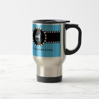 Best TEACHER Monogram and Custom Name V05 BLUE 15 Oz Stainless Steel Travel Mug