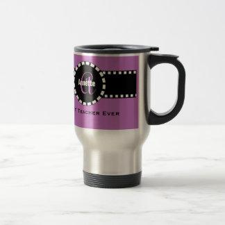 Best TEACHER Monogram and Custom Name V06 PURPLE 15 Oz Stainless Steel Travel Mug