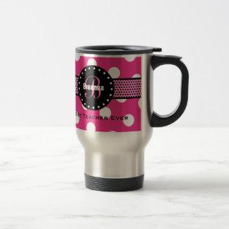 Best TEACHER Monogram Pink Polka Dots V02 15 Oz Stainless Steel Travel Mug