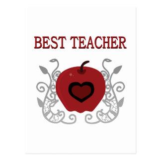 Best Teacher Red Apple Postcard