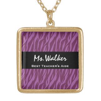 Best TEACHER S AIDE Purple and Black Zebra Gift Necklaces