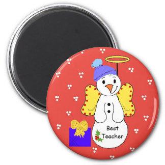 Best Teacher Snowman 2 Inch Round Magnet