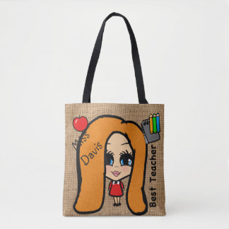 Best Teacher Tote - Personalized Caricature red