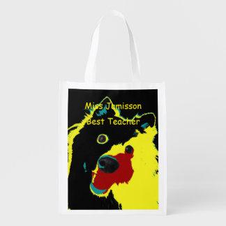 Best Teacher Yellow Dog Reusable Grocery Bag