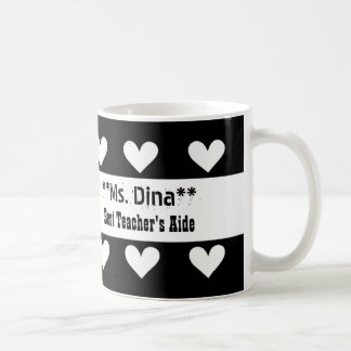 Best TEACHER'S AIDE Black and White Hearts A15 Classic White Coffee Mug