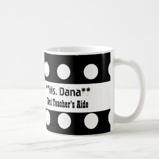 Best TEACHER'S AIDE Black and White Polka Dots A14 Coffee Mug