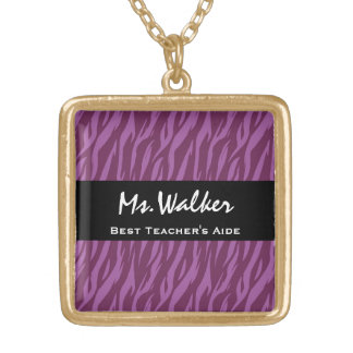 Best TEACHER'S AIDE Purple and Black Zebra Gift Square Pendant Necklace