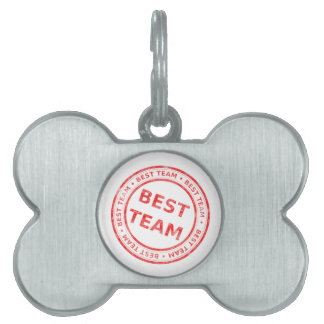 Best Team stamp - prize, first, champion,trophy Pet Name Tag